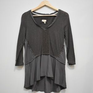 ANTHO Meadow Rue Brown Boho Peplum Knit Ruched Top